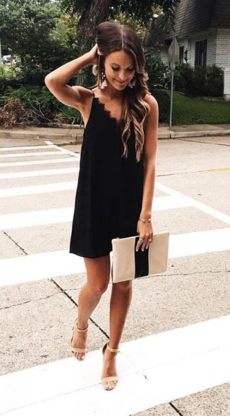 black scalloped neckline shift sundress