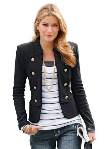 black short blazer with grey and white striped tess