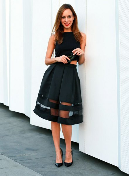 black sleeveless crop top with midi mesh flared skirt