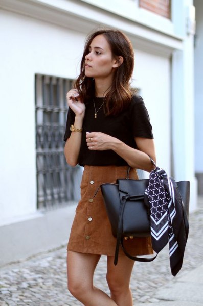 black t shirt with brown suede button front mini skirt