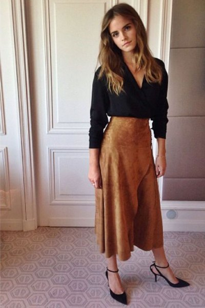 black v neck long sleeve blouse with brown suede maxi flared skirt