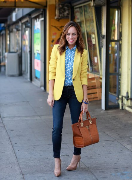 blue and white polka dot shirt with yellow blazer