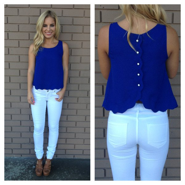 blue button up back scalloped hem sleeveless shirt