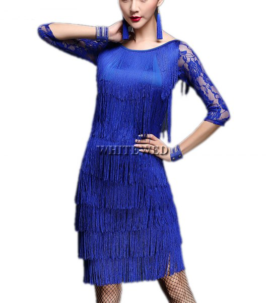blue fringe gatsby dress with fishnet stockings