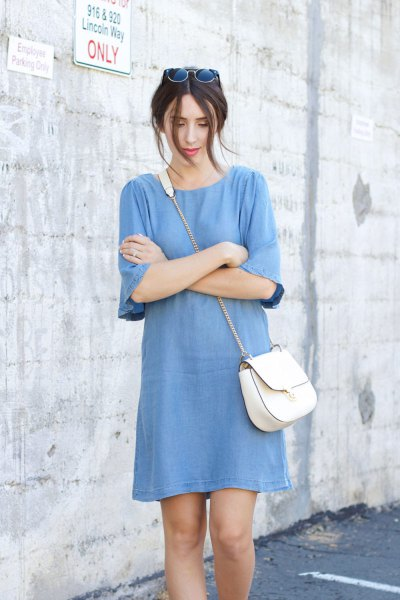 blue half sleeve chambray shift mini dress
