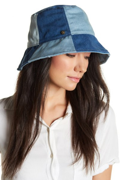 blue patch denim bucket hat with white polo shirt and cargo pants