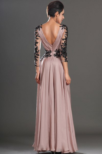 blush maxi pleated dress with black lace details