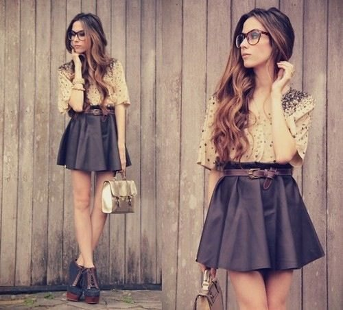 blush pink button up shirt with black silk mini circle skirt