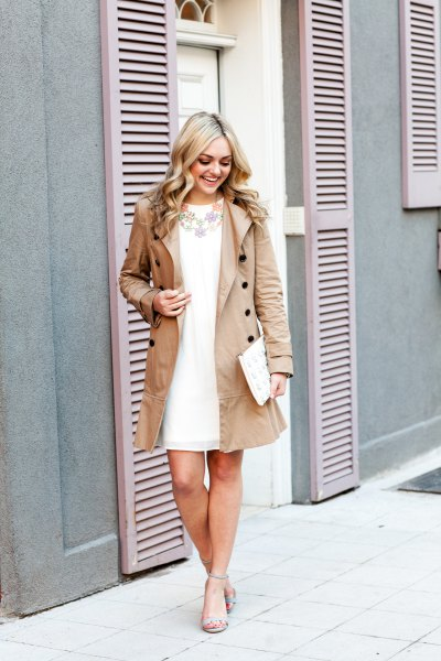 blush pink coat dress with white chiffon mini dress