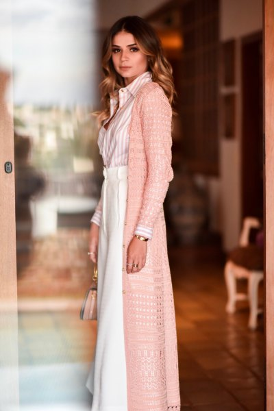 blush pink crochet long cardigan with maxi white flared skirt