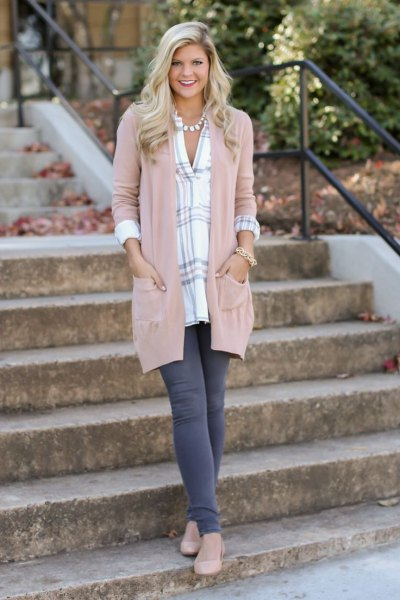 blush pink duster sweater with blue and white plaid tunic top