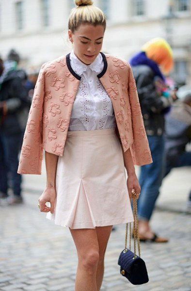 blush pink floral embroidered blazer with white high waisted mini skirt