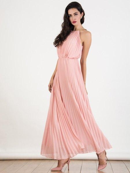 blush pink halter neck gathered waist maxi pleated dress