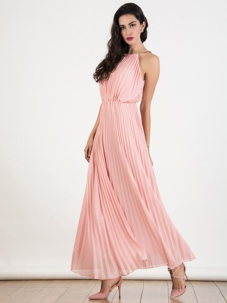 blush pink halter neck gathered waist maxi pleated dress