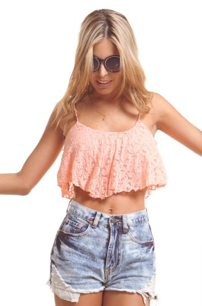 blush pink lace crop top with blue denim shorts