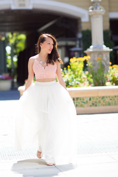 blush pink lace cropped camisole with white long tulle skirt