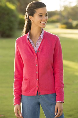blush pink v neck cardigan with plaid shirt