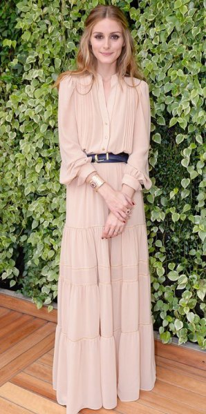 blush puff sleeve belted maxi pleated dress