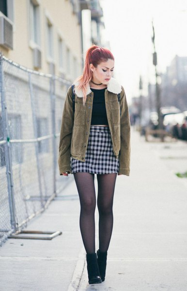 brown faux fur collar coat with high waisted bodycon checkered mini skirt