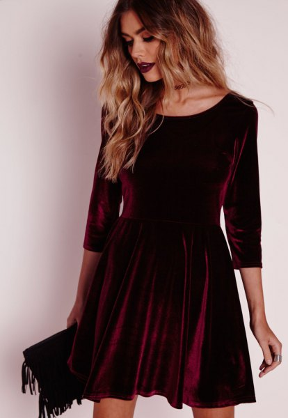 burgundy three quarter sleeve mini velvet skater dress