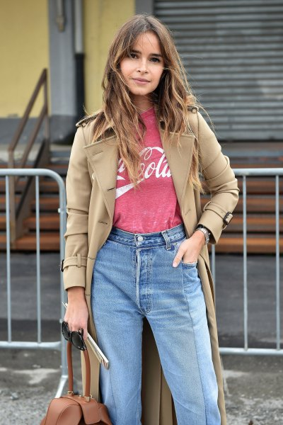 camel long coat with coca cola retro t shirt