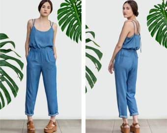 chambray elastic waist cuffed pants with matching vest top