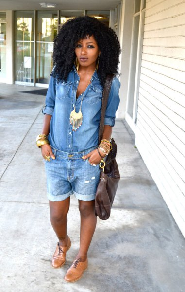 chambray shirt and boho style necklace