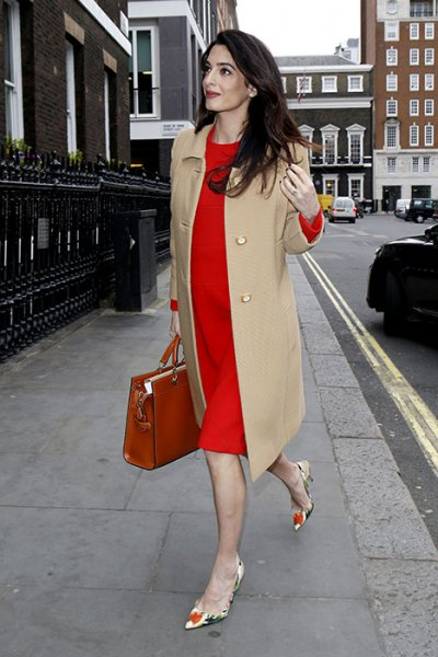 crepe long coat dress with red midi shift dress