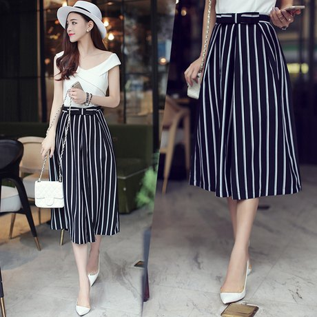 cropped black and white striped wide leg pants with white felt hat