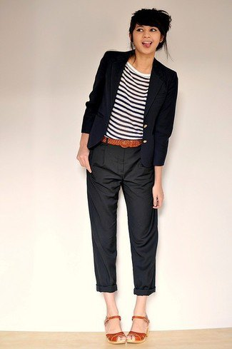 cuffed chinos with striped tee and black blazer