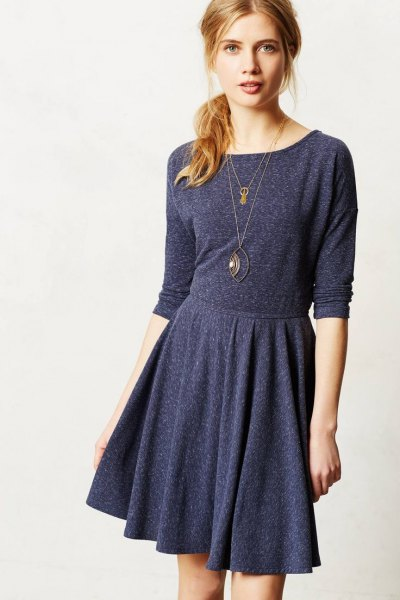 dark grey long sleeve knee length cotton skater casual dress