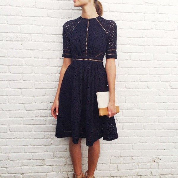 dark navy half sleeve fit and flare knee length dress