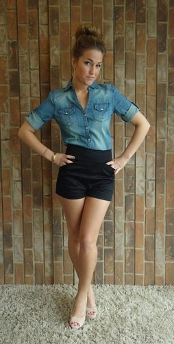 denim shirt with black high waisted dressy shorts