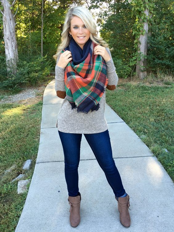 elbow patch shirt plaid scarf