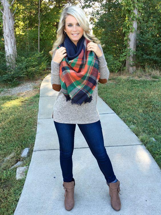 elbow patch shirt plaid scarf