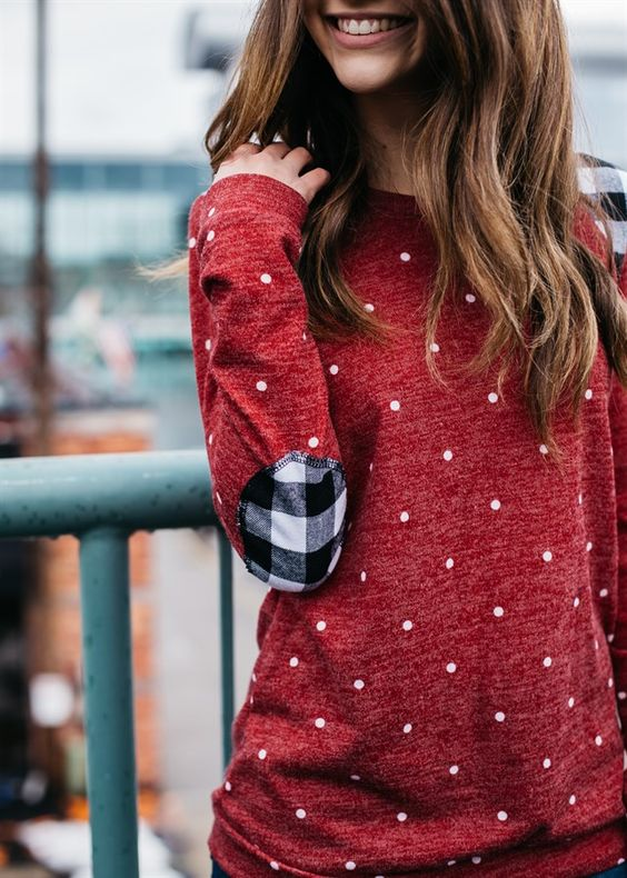 elbow patch shirt red polka dot