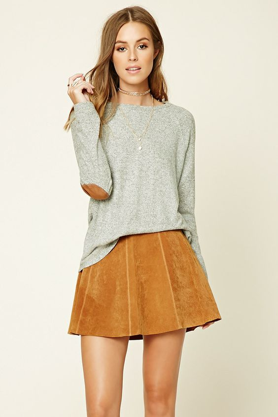 elbow patch shirt suede skirt