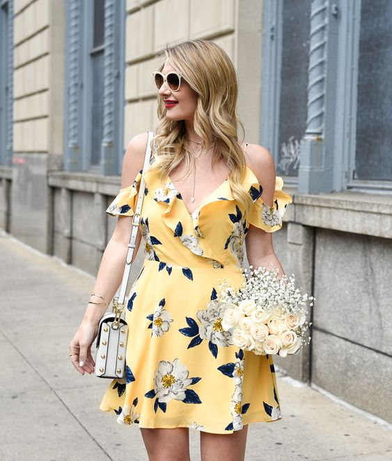 floral cold shoulder dress yellow