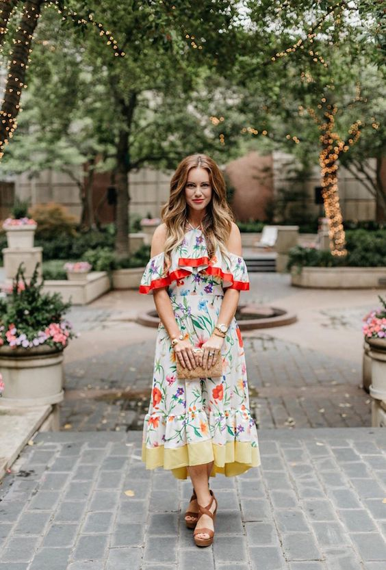 floral cold shoulder dress red yellow