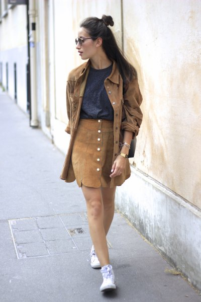 green denim oversized jacket with brown button front suede mini skirt