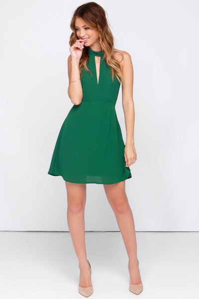 green halter neck keyhole mini skater chiffon sundress