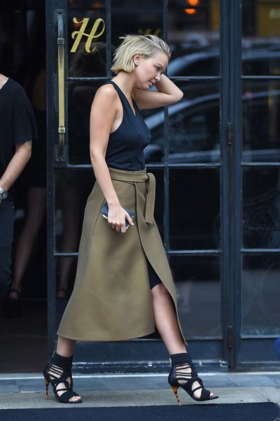 green khaki wrap long skirt with black vest top