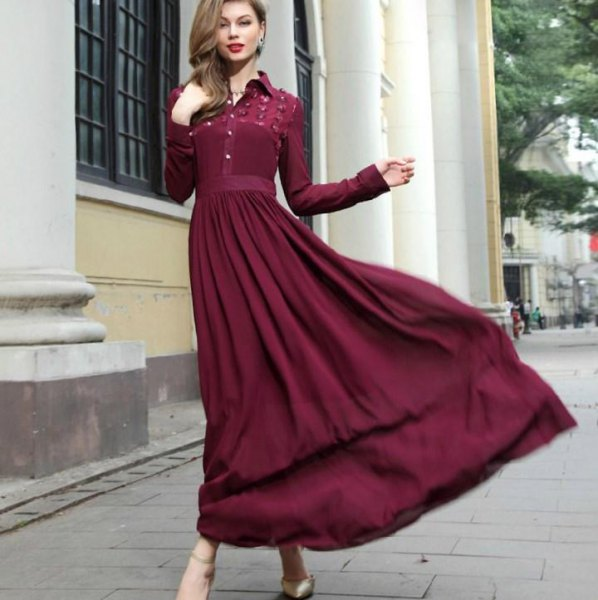 green long sleeve button up maxi pleated dress