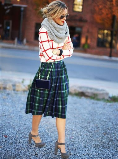 green plaid skirt with red and white sweater