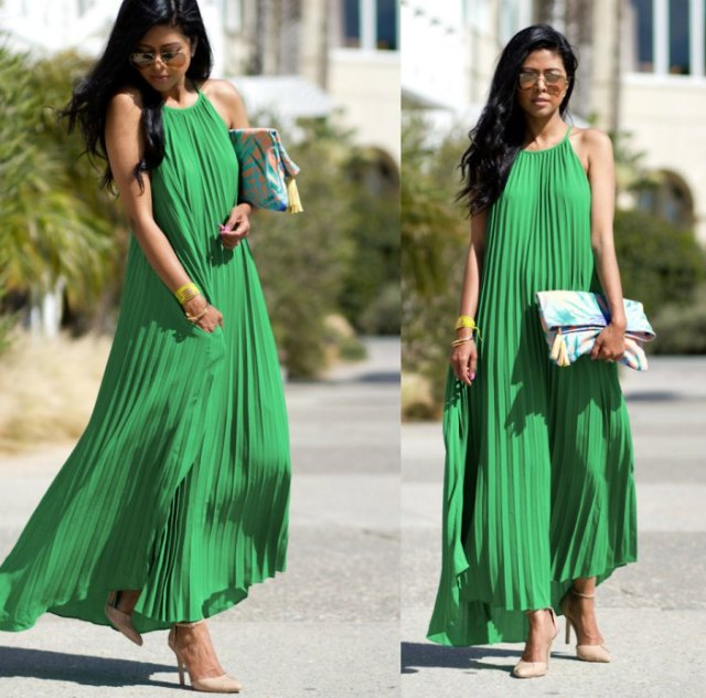green pleated maxi dress with pink heels