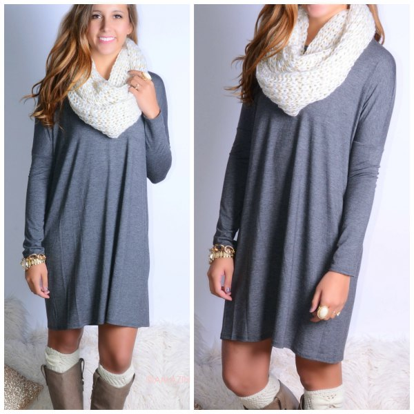 grey casual long sleeve dress with white scarf