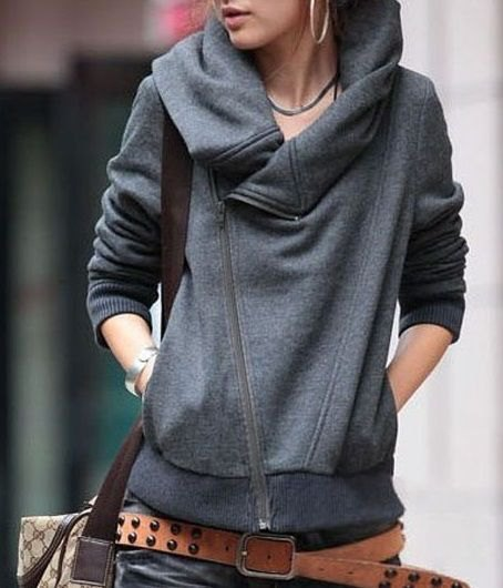 grey cowl neck hoodie cardigan with jeans and studded belt