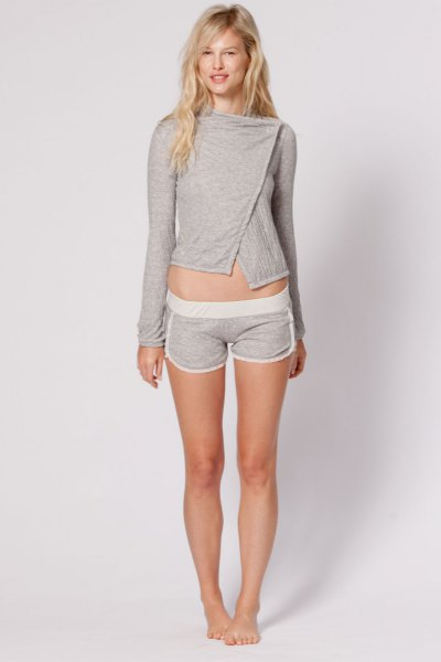 grey cropped long sleeve tee with mini pajama shorts