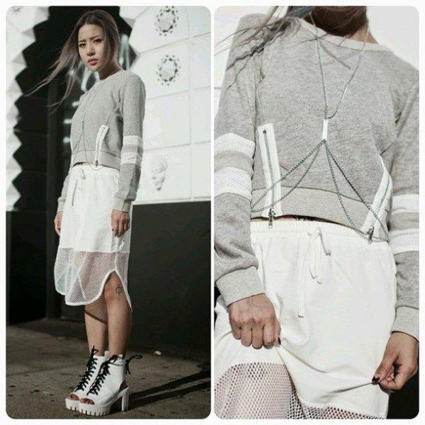 grey cropped sweatshirt with white mesh midi skirt