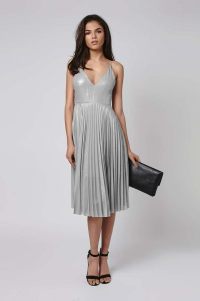 grey deep v neck midi pleated dress with black open toe heels